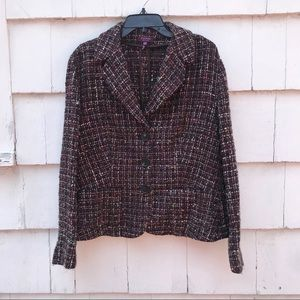 Escada Multi Color Tweed Blazer
